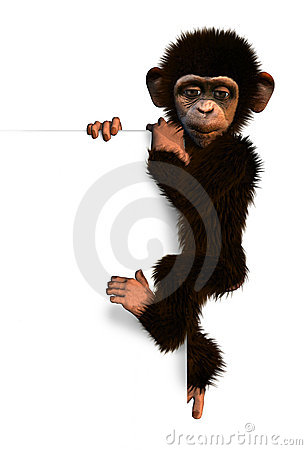 Cartoon Chimp on Sign Edge