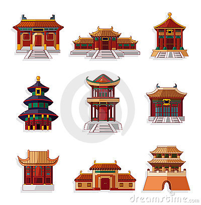 Free Cartoon Chinese House Icon Set Royalty Free Stock Photos - 20187758