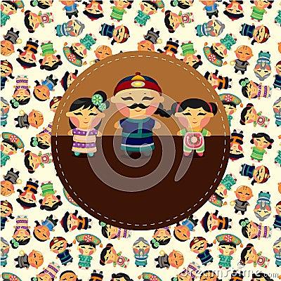 Free Cartoon Chinese People Card Stock Photo - 21242380