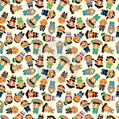 Free Cartoon Chinese People Seamlese Pattern Royalty Free Stock Images - 20785799