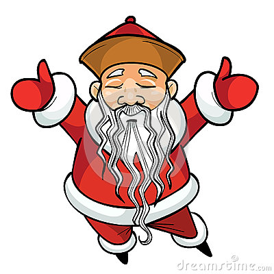 Free Cartoon Chinese Santa Claus Standing With His Arms Raised Stock Photos - 51384133