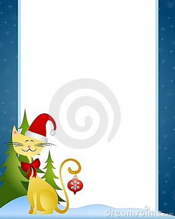 Cartoon Christmas Cat Border
