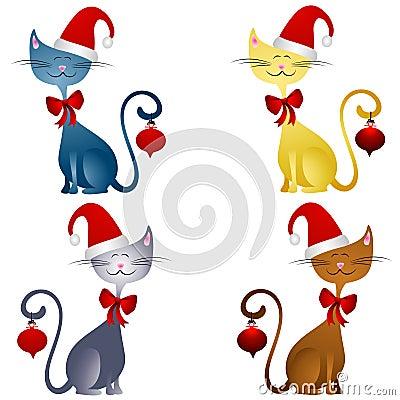 Cartoon Christmas Cats Clip Art 2