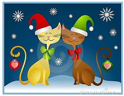 Cartoon Christmas Cats Holiday Card