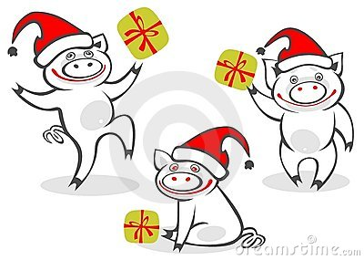 Cartoon christmas piggies