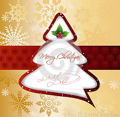 Free Cartoon Christmas Tree On Gold Card. Vector Stock Images - 34807654