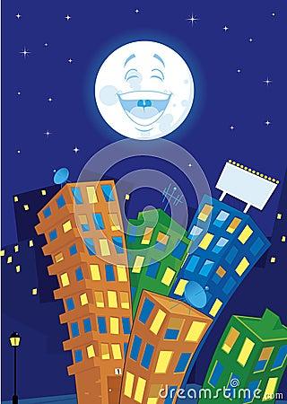 Cartoon city at night