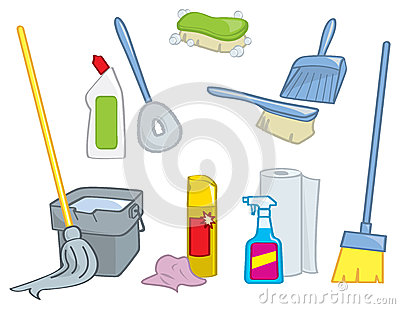 Cartoon Cleaning Supplies