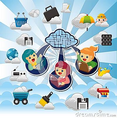 Cartoon Cloud network
