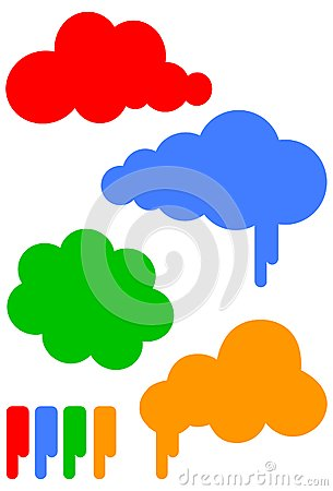 Cartoon cloud vector illustration set