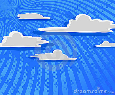 Cartoon clouds with blue sky.