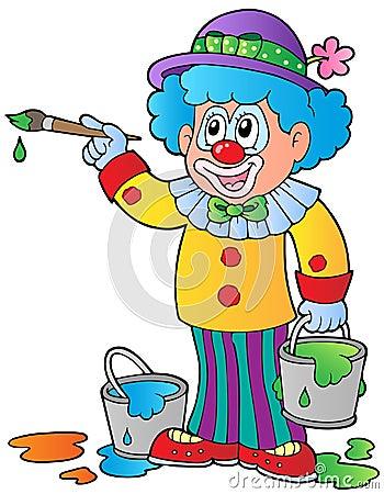 Cartoon clown artist