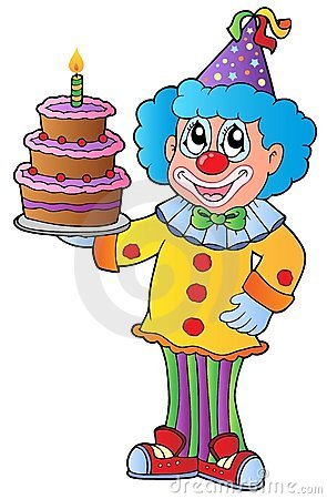 Cartoon clown with cake