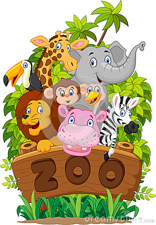 Free Cartoon Collection Zoo Animals Royalty Free Stock Photo - 54300495