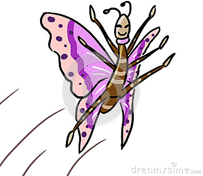 Cartoon color animal expression butterfly dance