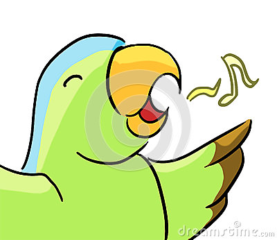 Cartoon color animal expression parrot sing