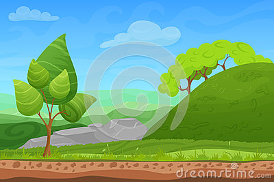 Cartoon color nature spring summer landscape in sun day with grass, trees, sky and hills. Vector sunday game style Vector Illustration