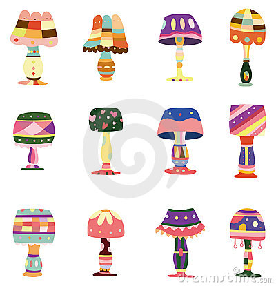 Cartoon colorful lamp icon