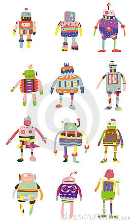 Cartoon colorful robot icon