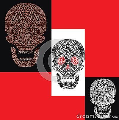 Cartoon colorful set of skulls