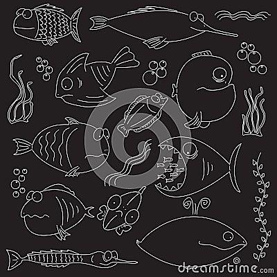 Cartoon comic fishes