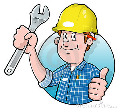 Cartoon construction worker logo