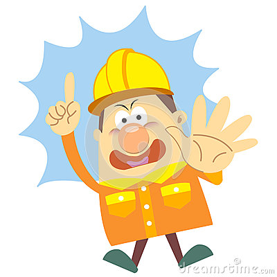 Cartoon construction worker with white background