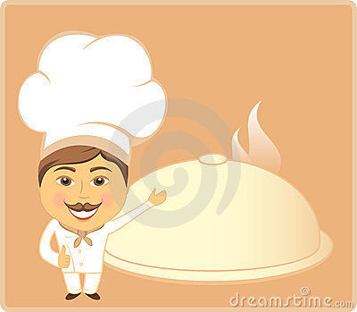 Cartoon cook and dish