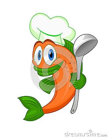 Free Cartoon Cook Fish Stock Photo - 20997420
