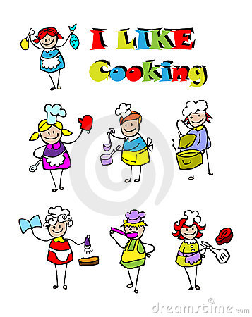 Cartoon cooking icons set, food