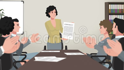 Cartoon Corporate / Girl Shows Business Contract. Ready animated scene for easy use in your video