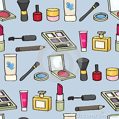 Cartoon Cosmetics Seamless Background Stock Images Image