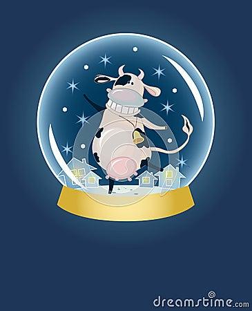 Cartoon cow inside snow sphere dome