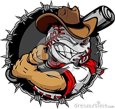 Free Cartoon Cowboy Baseball Face Holding Baseball Bat Royalty Free Stock Images - 23586659