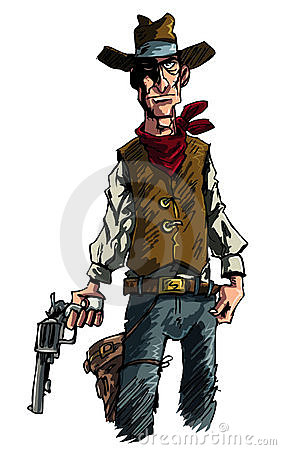 Cartoon cowboy gunslinger draws his six shooter