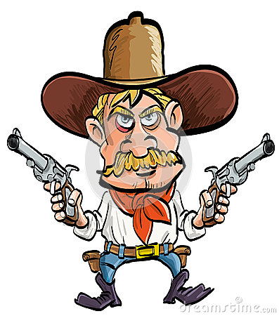 Cartoon cowboy with his guns drawn