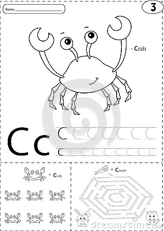 Cartoon Crab And Hare With Carrot. Alphabet Tracing Worksheet: W ...