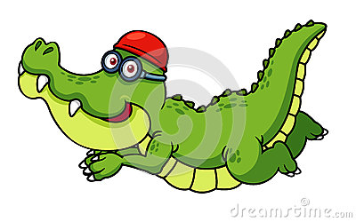 Cartoon crocodile swimming