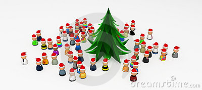 Cartoon Crowd, Around Christmas Tree