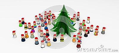Cartoon Crowd, Around Christmas Tree
