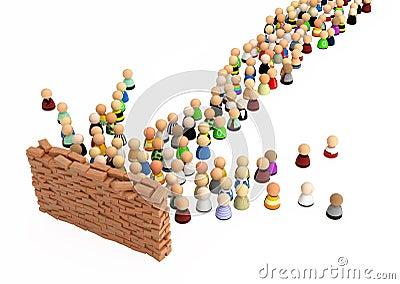 Cartoon Crowd, Brick Wall