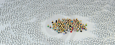 Cartoon Crowd, Encircled White