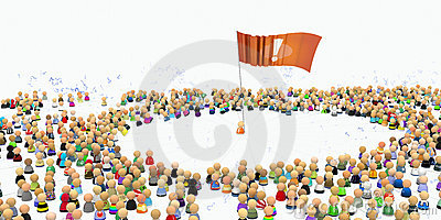 Cartoon Crowd, Flag