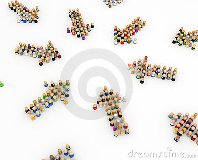 Cartoon Crowd, Group Arrows