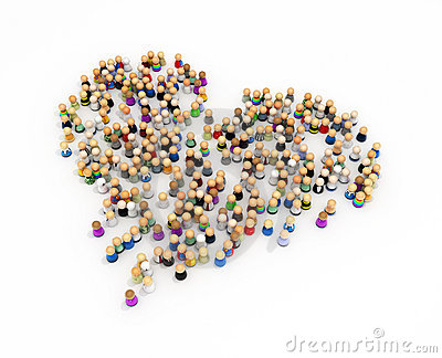 Cartoon Crowd, Heart Shape