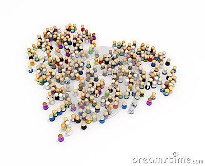 Cartoon Crowd, Heart Shape