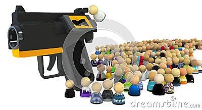Cartoon Crowd, Line System Grab