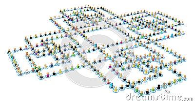 Cartoon Crowd Links, Square Cross