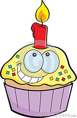 Cartoon cupcake with a candle
