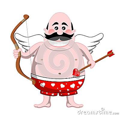 Cartoon Cupid with Bow and Arrow